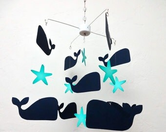 Whale Mobile, Baby Mobile, Baby Boy, Baby girl, Nursery Mobile, Nursery Decor, Whale, Star fish, Star, Nautical Nursery