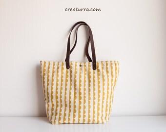 Handmade Mustard Brown Tote Bag