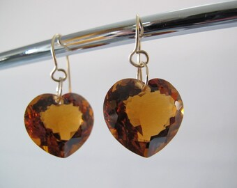 Madeira Citrine Heart Gold Earrings