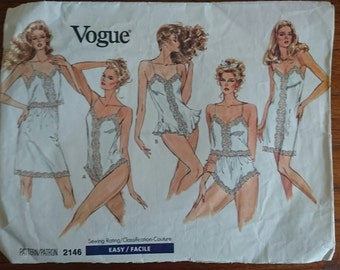 VOGUE 2146- cut to medium- lingerie pattern teddy slip bust 34 36 inches