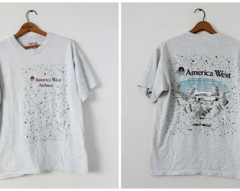 LARGE Vintage 1990s America West Airlines (Front and Back) Heather Grey Graphic T-Shirt