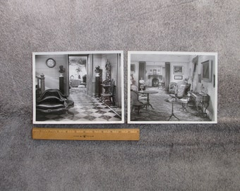Pair of black and white photos of the movie set from Little Women