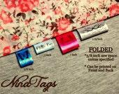 80 FOLDED Custom Satin Clothing Labels - Fabric Garment Tags - NinaTags