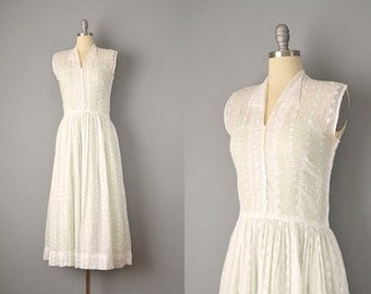 50s Dress // 1950's White Cotton Organdy Embroidered Dress w/ Mint Green Slip & Matching Hat // Small
