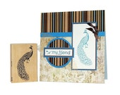 """Peacock Rubber Stamp - 3"""" x 1"""" Stampabilities Peacock Stamp With Flowing Tail Feathers + CARD - Great Stamp for Card Making or Scrapbooks"""