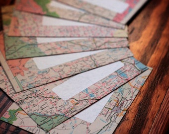 Handmade Map Envelopes - set of 7 -  Mapvelopes - upcycled envelopes