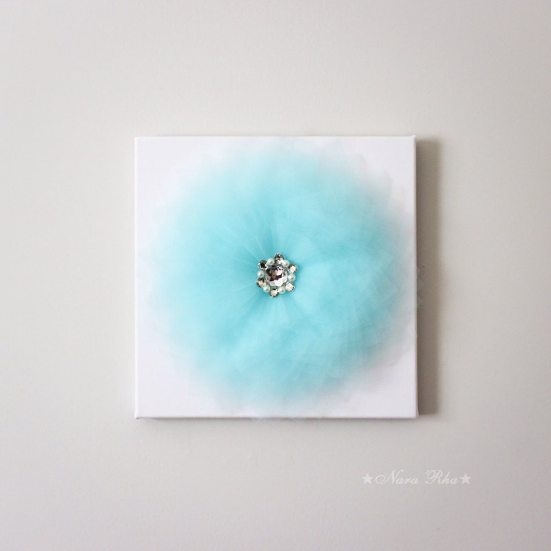 Aqua Home Decor Aqua Nursery Wall Flower Decor Flower Art