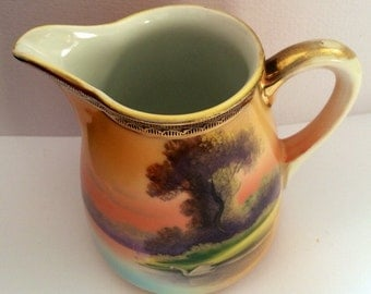 Antique Noritake porcelain Cream Pitcher Tree By the Lake Hand Painted made in Japan
