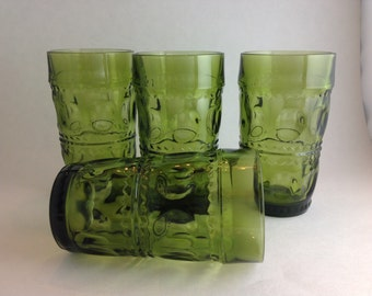 Set of 4 Indiana Glass Olive Green Kings Crown Thumbprint Water Tumblers Glasses    12 Ounce  Mid Century Barware Retro Water Glasses