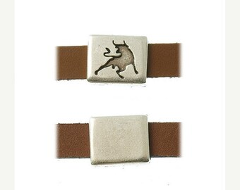 On Sale NOW 25%OFF Square Bull Sliders For 5-10mm Flat Leather Cord Antique Silver Z2515 Qty 2