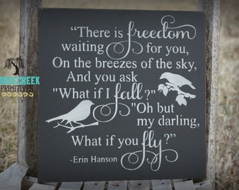 What if i fall, oh my darling what if you fly, Erin Hanson, Inspirational Quote, Motivational Wood Sign, nursery decor