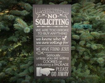 Funny No Soliciting Sign, Rustic, No Soliciting, Primitive