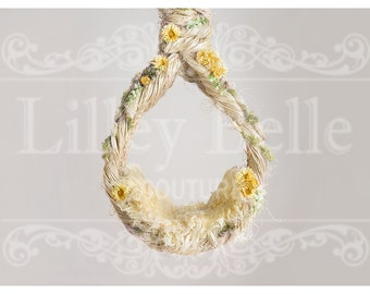 Digital prop/backdrop (Chunky Rope Hanging Basket Yellow Floral)