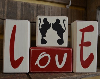 Love with Mickey & Minnie Kissing Valentine Stacking Blocks