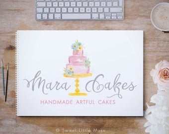 Bakery Logo - cake Logo - hand painted watercolor logo - premade logo