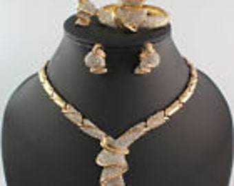 4Pc Ladies Africa Dubai Crystal Necklace, Bracelet, Earrings, and Ring Set