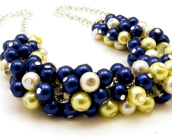 Pearl Navy Lemon Cluster Necklace for Bridesmaids, Wedding Jewelry, Bridesmaids Gift, Bridesmaid Necklace sets