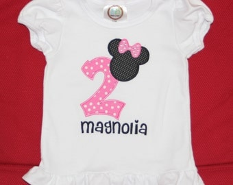 Personalized Minnie Birthday Number Tee or Bodysuit