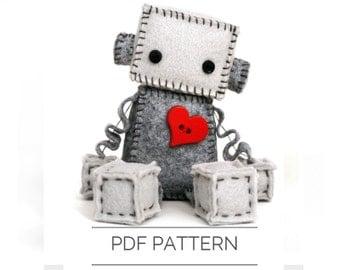 Felt Robot Plush Pattern PDF - Instant Download - DIY