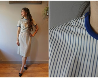 1960s Blue and White Stripe Pencil/Wiggle Dress