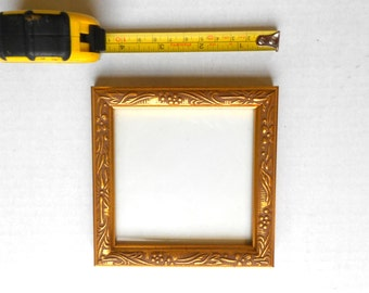Square Picture Frame,3.5 x 3.5 Photo,Small Photo Frame,Gold Picture Frame,Gold Leaf Picture Frame,Decorative Photo Frame,Square Photo Frame,