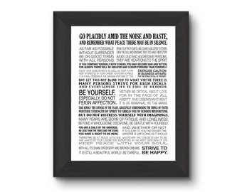 Desiderata 11x14 print, typography, subway art, child of the universe, strive to be happy, motivational