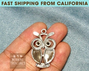 10pcs Large Owl Charms - Antique Silver Metal Alloy Lovely Owl Jewelry Pendant Charms Animal Charm - D268