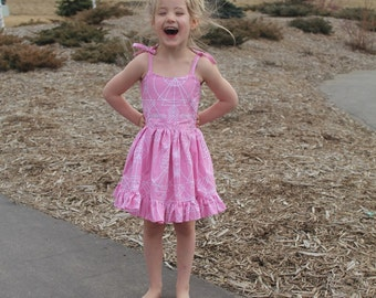 Waverly sundress with ruffle snap back with tie shoulders