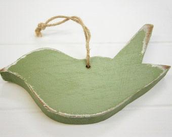 Olive Green Painted Distressed Wood Hanging Bird/Bird/Shabby Chic Decor/Rustic Home Decor/Bird Art/Home Decor/Decoration