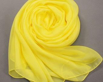 Lemon Yellow Chiffon Scarf - Bright Yellow Chiffon Scarf - PS6