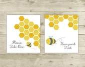 Bee Blank Table Tent Cards - Digital - Yellow Bee Table Tent Cards Name Cards Food Cards Labels - Printable - INSTANT DOWNLOAD