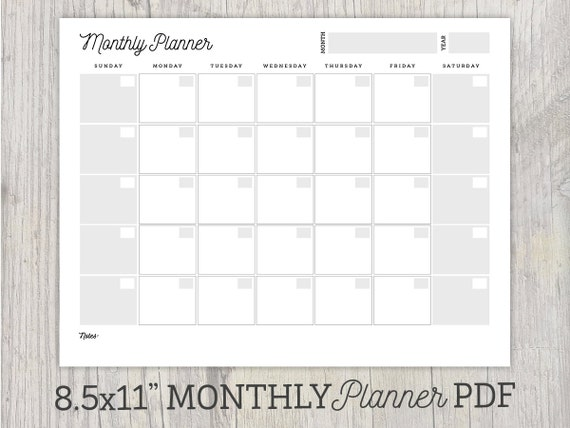 Weekly Calendar Undated : Monthly planner printable undated calendar organization
