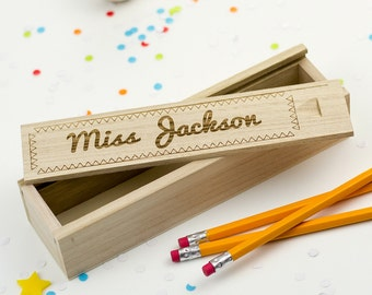 Wooden Pencil Box - Laser Engraved Personalized Pencil Case - Teacher Gifts - School Supplies - Best Teacher - Gift For Teacher - LC019