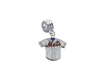 "New York Mets ""Glitter Jersey"" European Charm for Bracelet, Necklace & DIY Jewelry"