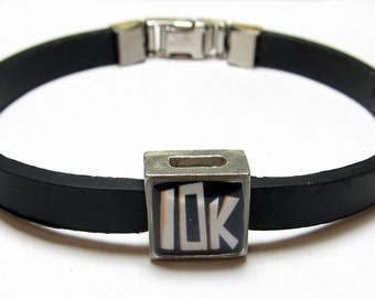 10K 6.2 Mile Run Link With Choice Of Colored Band Charm Bracelet