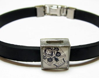 Day Of The Dead Cream Sugar Skull Link With Choice Of Colored Band Charm Bracelet