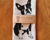 Screen printed 100% linen Tea Towel Boston Terrier,French Bulldog, Hostess Gift