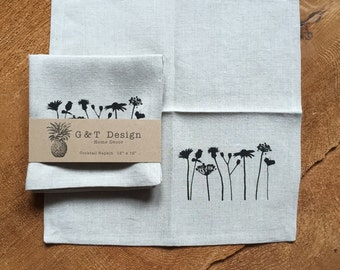 Black Wildflowers Screen Printed onto 100% Natural Linen Cocktail Napkins, Set of 4