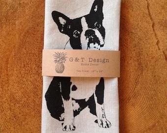 Screen printed 100% linen Tea Towel Boston Terrier,French Bulldog, Hostess Gift