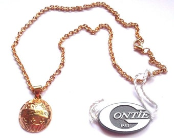 Signed Gontie Paris Signature Necklace 3411 Gold Plated Setting New (D)