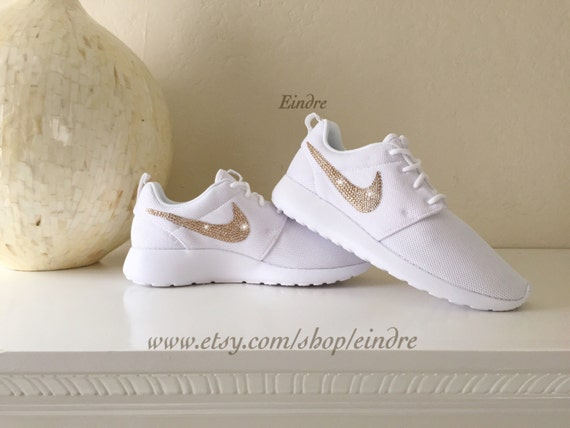 0abb80199c8c Blinged Custom Nike Roshe Run White Embellished with by Eindre 60 ...