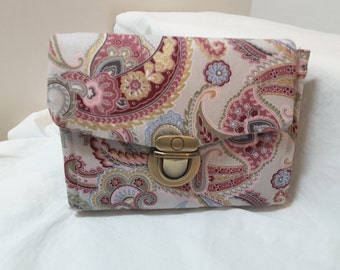 Grey and Pink Paisley Mini Necessary Clutch Wallet