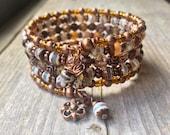 Banded Copper Multi Strand Memory Wire Coil Bracelet