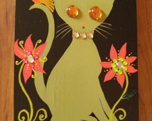 Vintage style jeweled cat and bird painting on reclaimed wood