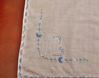 """Vintage linen table tablecloth with blue teapot embroidery 30"""" x 32"""""""