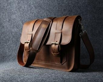 """MacBook Bag 13"""" Leather MacBook Messenger Bag, MacBook Air Case, MacBook Bag, Distressed Leather Messenger Bag - Listing #022"""