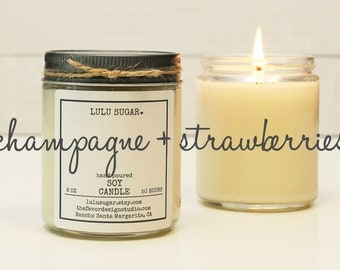 Champagne + Strawberries Scented Soy Candle - 8 oz jar | Soy Candle Gift | Gift for Her | Mother's Day Gift | Celebration Gift | Send Gift