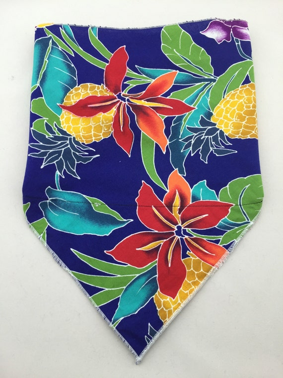 AloHan: Hidden Stash Pocket Cotton Bandana w/ Vintage Hawaiian Pineapple Print in Brilliant Blue