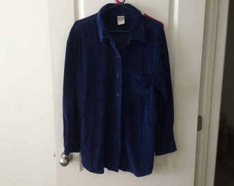 Vintage Men's Shirt - Essentials Style - plush felt-like material - dark blue - cotton poly blend - Size Large - excellent used condition