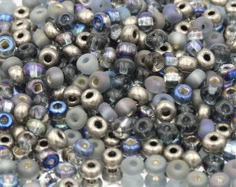 Czech Glass 6/0 Seed Bead Grey Mega Mix   20 Grams